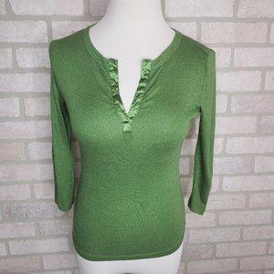 INC Green V Neck 3/4 Sleeve Top